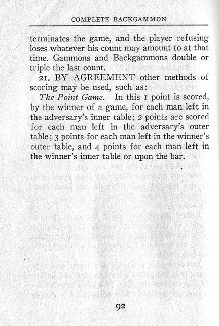 Backgammon Rules 1931
